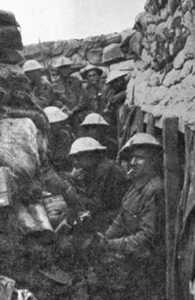 Men of the 53rd Battalion ... waiting for the attack at Fromelles. Only three of the men pictured came out of the battle alive and those were wounded. Picture courtesy of the Australian War Memorial