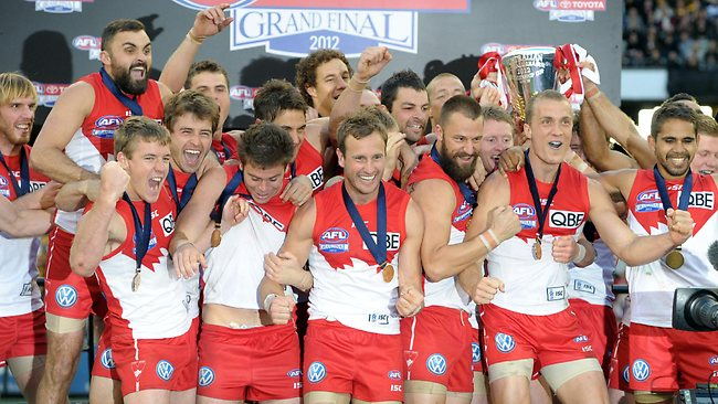 Sydney Swans players celebrate after winning the 2012 AFL grand final Picture: Alex Coppel
