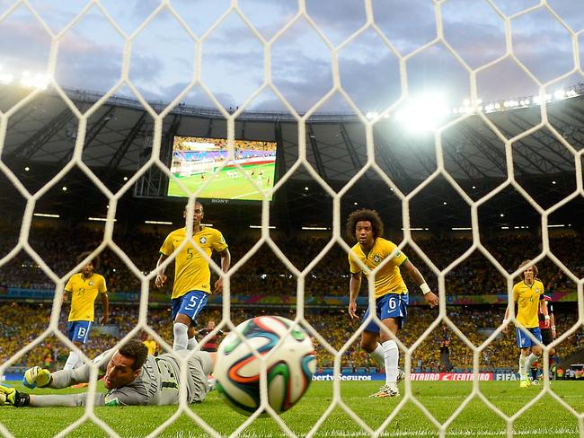 Julio Cesar concedes another goal against Germany.