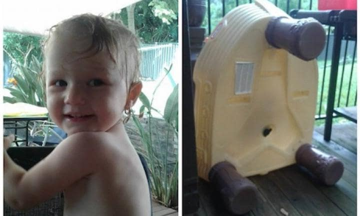 In an instant my 16-month-old was stuck facedown in water play table
