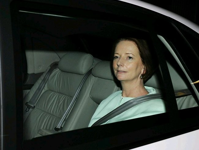 Prime Minister Julia Gillard leaving the Commonwealth Bank building in Adelaide, the night that Kevin Rudd resigned. Picture: Brooke Whatnall