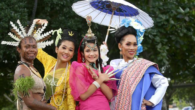 Karen Kore from Papua New Guinea, Dindin Khaing from Myanmar, Daniella Kerrigan from the Philippines and Saowawe Tsongkam from Thailand at a multicultural festival. Few would argue Australia is built on immigrants. (Pic: Anna Rogers)