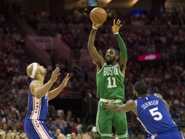 Kyrie Irving in action against the 76ers