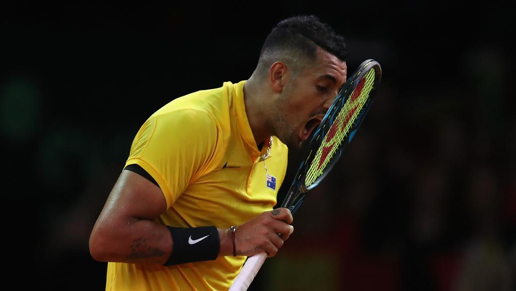 Nick Kyrgios during the loss to Belgian world No.12 David Goffin.