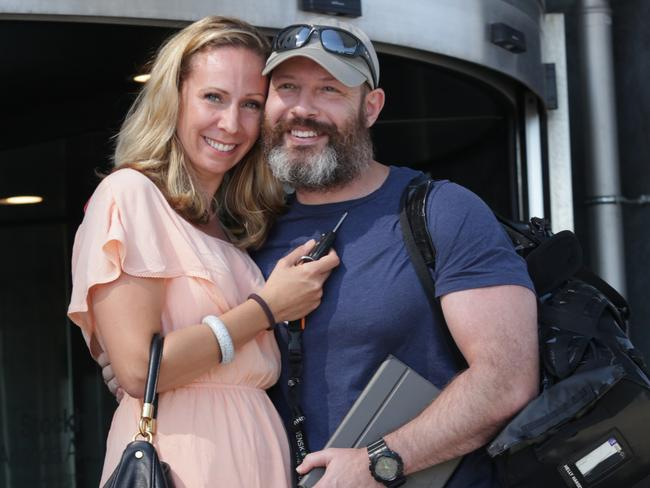 Adam Whittington pictured with his wife Karin Whittington shortly after being released from jail in Lebanon. Picture: Ella Pellegrini