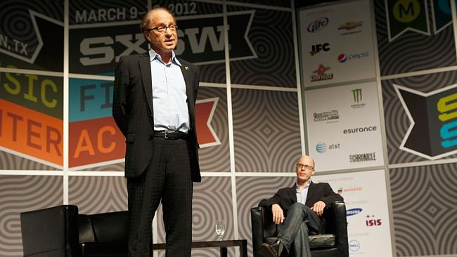 Ray Kurzweil speaks on stage on Expanding Our Intelligence Without Limit during the 2012 SXSW Festival.