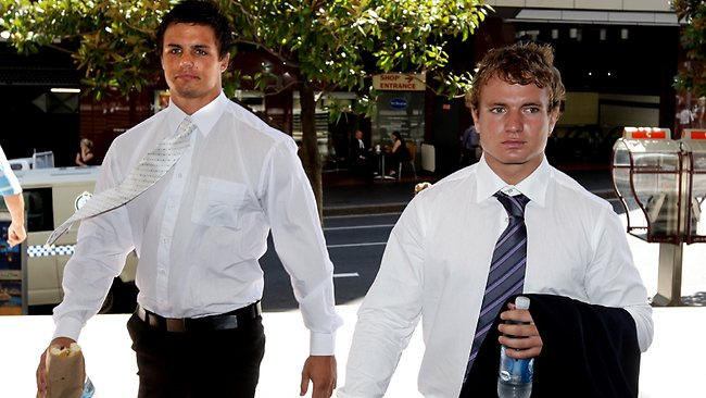 Sandor Earl (L) and Jake Friend outside of Downing Centre Local Court. Picture: Ross Schultz