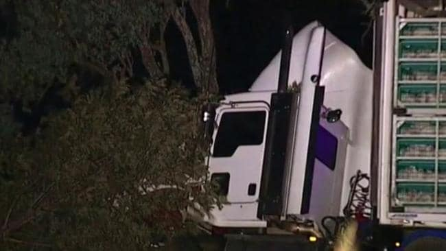 A motorist lost their life after a truck and a car collided on the Cunningham Highway. Source: Nine News Brisbane