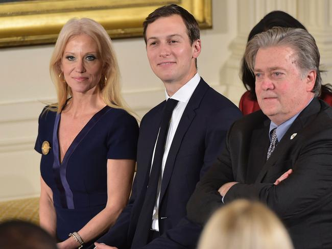 This file photo taken on January 22, 2017 shows (L-R) Counselor to the President Kellyanne Conway, Senior Advisor Jared Kushner and Chief Strategist Steve Bannon. Picture: AFP.