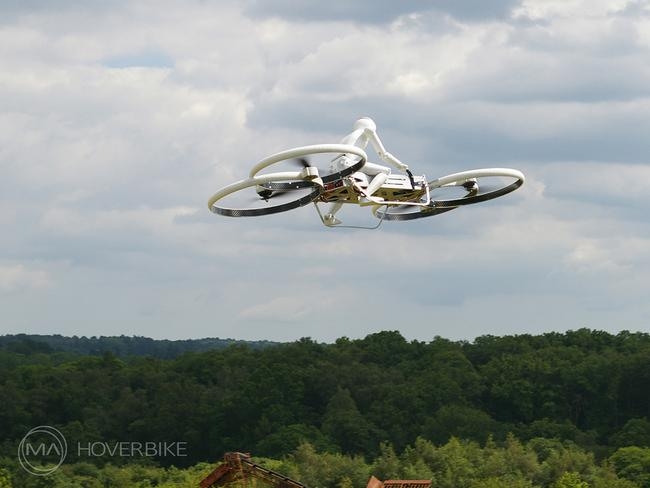 Fly-past ... The Drone 3, the hoverbike subject of a Kickstarter funding campaign has passed its stated goal. Source: Malloy Aeronautics.