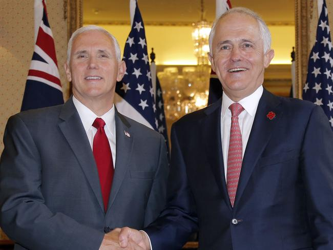 US Vice President Mike Pence (left) met with 's Prime Minister Malcolm Turnbull at Admiralty House in Sydney over the weekend. Picture: Jason Reed/Pool Photo via AP