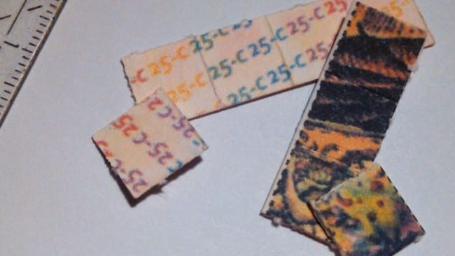 NBOMe can be found in tabs of blotting paper like this. Picture: Heisenburg/Wikipedia