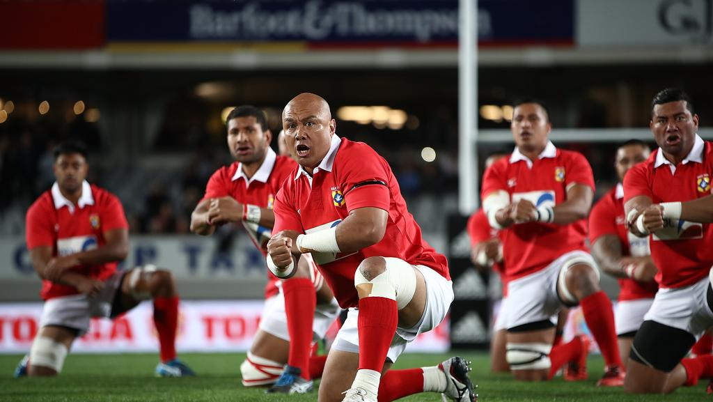 Nili Latu leads the Tongan pre-match challenge at Eden Park.