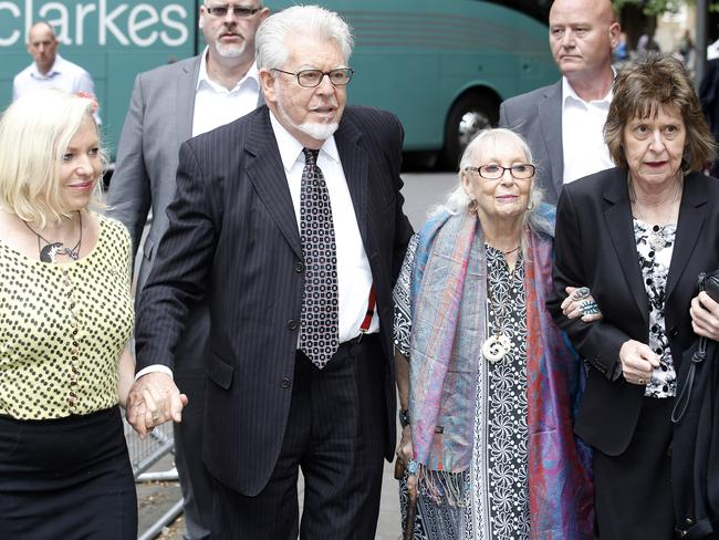 Family support ... Rolf Harris arrives at Southwark Crown Court accompanied by daughter Bindi, wife Alwen and Niece Jenny. Picture: Alex Huckle/GC Images