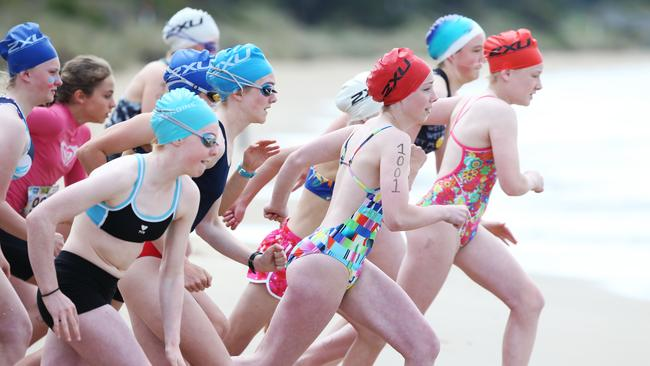 Grade 7 girls take off in the individual event at the Triathlon Schools Challenge at Bellerive. Pictures: NIKKI DAVIS-JONES