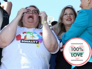 """Magda at the moment the """"Yes"""" result was announced. Photo: Jane Dempster/The Australian"""