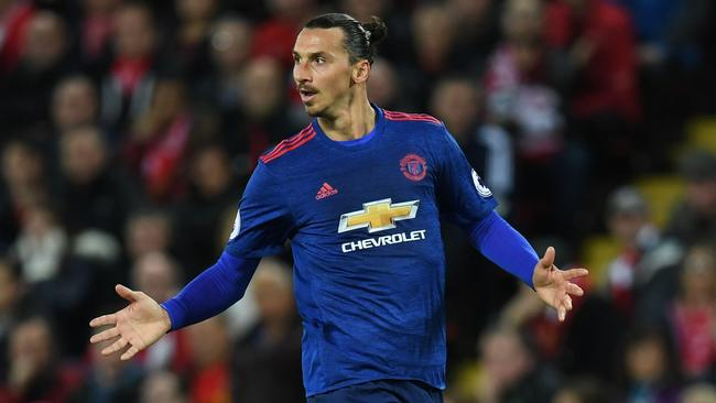 Manchester United's Zlatan Ibrahimovic playing against Liverpool.
