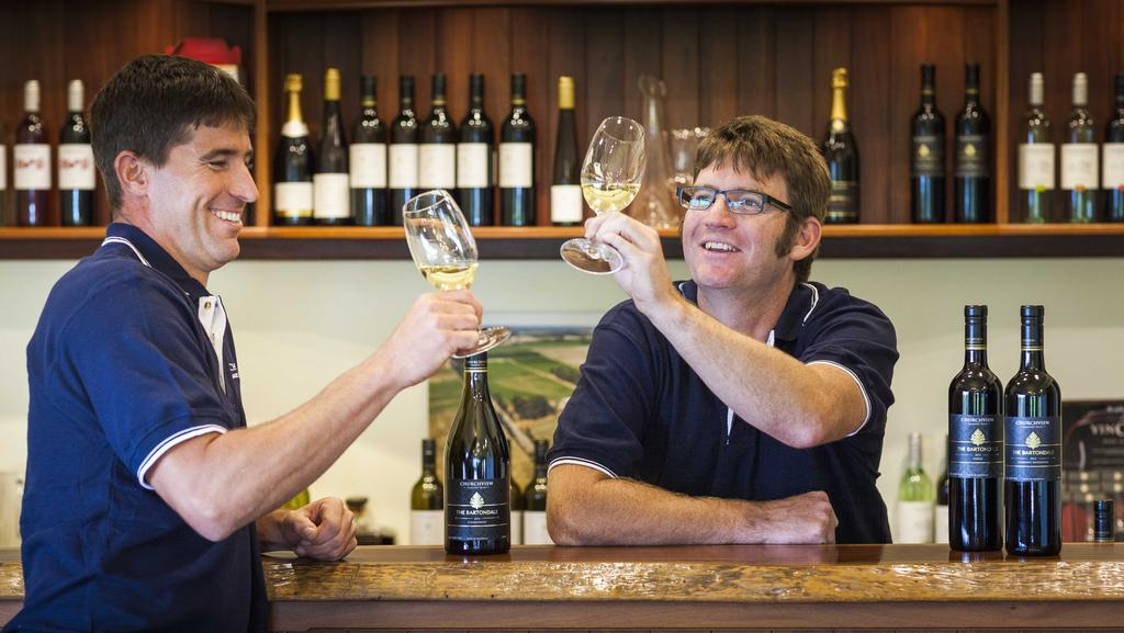 Churchview Estate general manager Ray Fokkema and winemaker Greg Garnish. Picture: Paul Donegan In-Sight-Photography