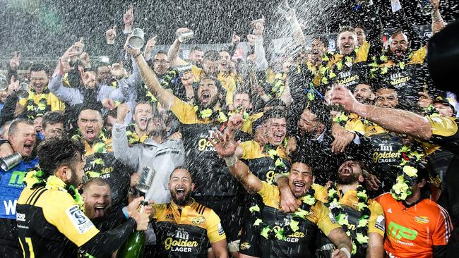 The Hurricanes celebrate their victory after the Super Rugby final in Wellington.