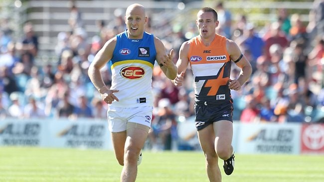 Gary Ablett and Tom Scully go head to head. Picture: Smith Kym