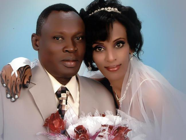 Relieved ... Daniel Wani with his wife Meriam Yehya Ibrahim who has been sentenced to death for refusing to renounce her Christian faith. Picture: Gabriel Wani/Facebook