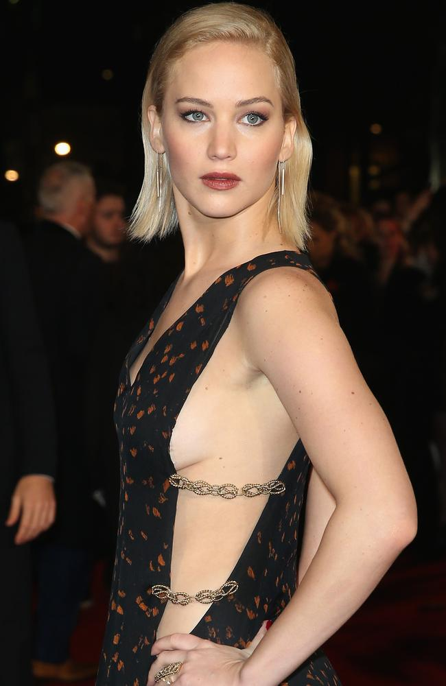 Jennifer Lawrence's look here is a little more demure, but still definitely in side boob territory. Picture: Chris Jackson