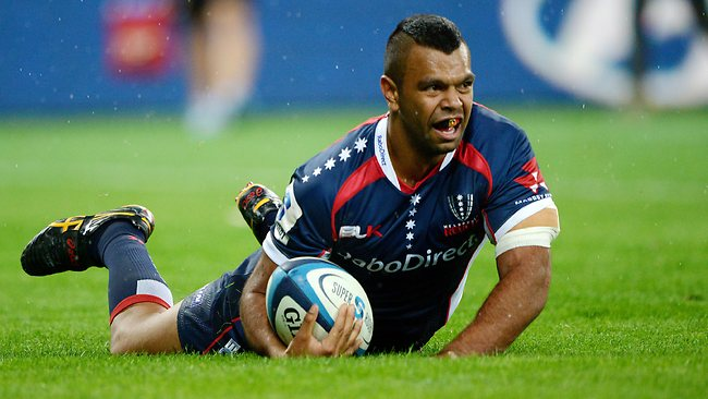 Kurtley Beale scoring a try playing for the Rebels against the Chiefs last weekend. Picture: Colleen Petch