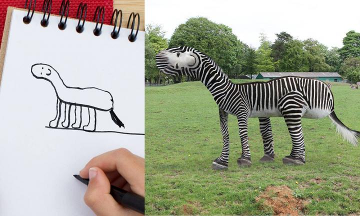 Dad brings his son's drawings to life with hilarious results