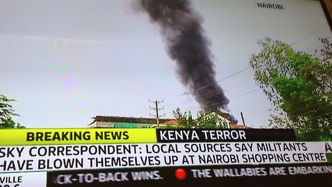 Smoke after major explosions were heard at the Westgate mall in Nairobi, Kenya, where a hostage situation still exists.