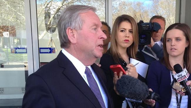 Premier Colin Barnett talking about Troy Buswell's resignation from WA Parliament outside the ABC's studios in East Perth this morning. Picture: Stewart Allen