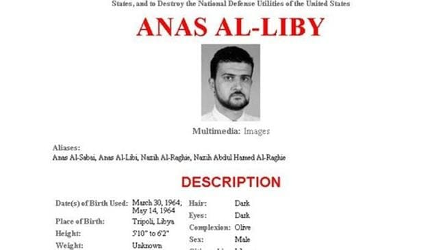 Anas al-Libi, who was captured by US commandos, stands accused of playing a role in the 1998 US embassy bombing and working as a senior adviser to al-Qaeda leader Osama bin Laden. Picture: FBI