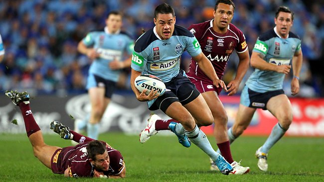 Jarryd Hayne makes a bust during a 2010 State of Origin Game. Picture: Gregg Porteous