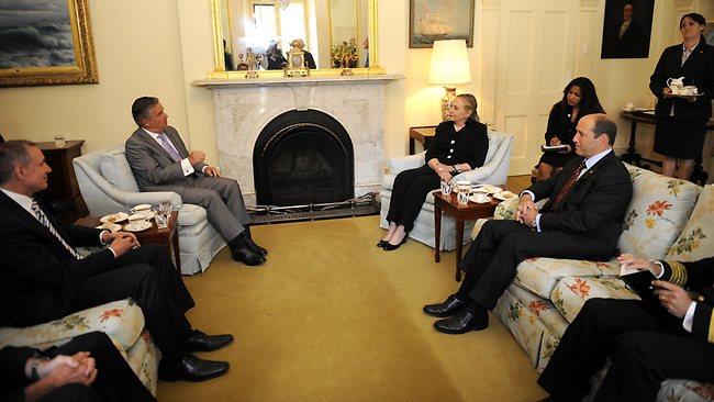 US Secretary of State Hillary Clinton meets Premier Jay Weatherill and Governor Kevin Scarce during her visit to Government House. Picture: David Mariuz/Getty Images