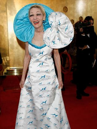 Jeannie Little used her red carpet look to advertise her radio station. (Photo by Simon Fergusson/Getty Images)