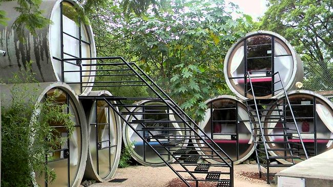 Tubo Hotel in Mexico has made its rooms out of recycled, concrete drain pipes. Photo: Facebook.