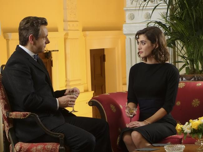 Erotic tension ... Michael Sheen as Dr. William Masters and Lizzy Caplan as Virginia Johnson in Masters of Sex. Picture: Supplied
