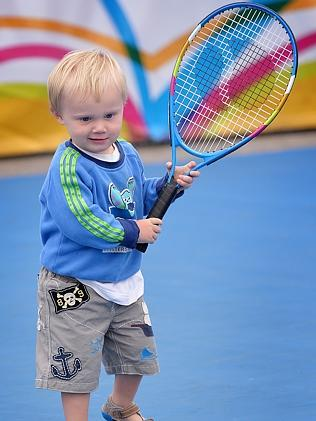 Alicia Molik's son Yannik. Garden Square and on court activities for kids at Melbourne park for lead up for the Australian Open Tennis tournament.