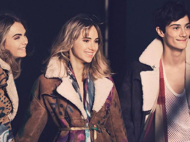 @CaraDelevingne, @SukiWaterhouse and Oli Green on the set of the new @Burberry Prorsum campaign Picture: Burberry / Twitter