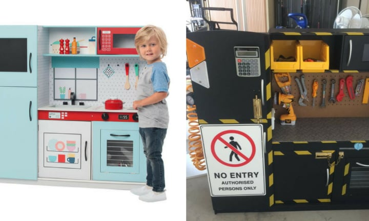 Mum hacks Kmart toy kitchen for her construction-loving toddler and OMFG