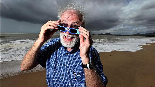 Eclipse chaser: Terry Cuttle of the Astronomical Association of Queensland says even a cloudy eclipse is unforgettable. Picture: Marc McCormack