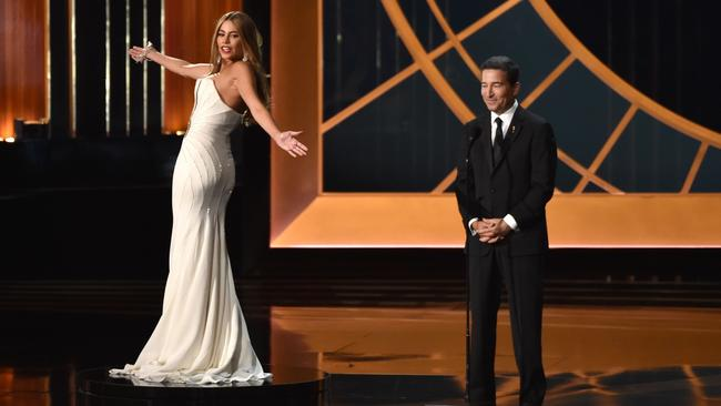 Sofia Vergara and Television Academy CEO Bruce Rosenblum on stage at the 66th Annual Primetime Emmy Awards.