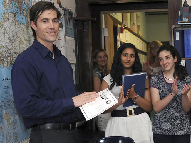James Foley speaks to US students in 2011. Pic: AP.