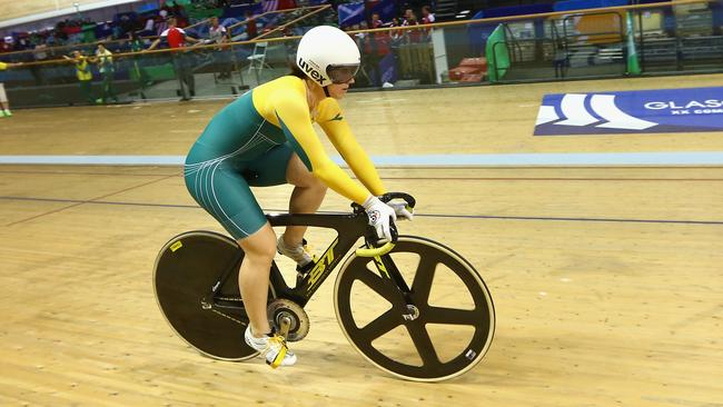 Anna Meaes tests out the track in Glasgow.