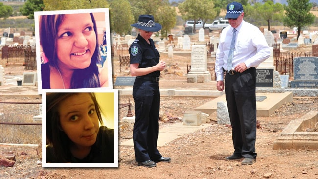 Police at the Quorn cemetery investigating the deaths of Quorn camel jockey Jasinta-Leigh Fullerton, inset top, and Port Pirie teenager Rebecca Wild. Main picture: MARK BRAKE