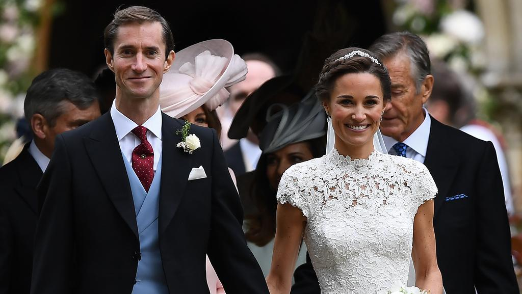 Pippa Middleton and her new husband James Matthews leave church following their wedding ceremony at St Mark's Church. Picture: Getty