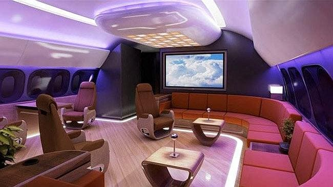 Boeing Business Jet: With this interior concept, Australia's VIP's need not miss a minute of the cricket as they scoot off to cooler climes.