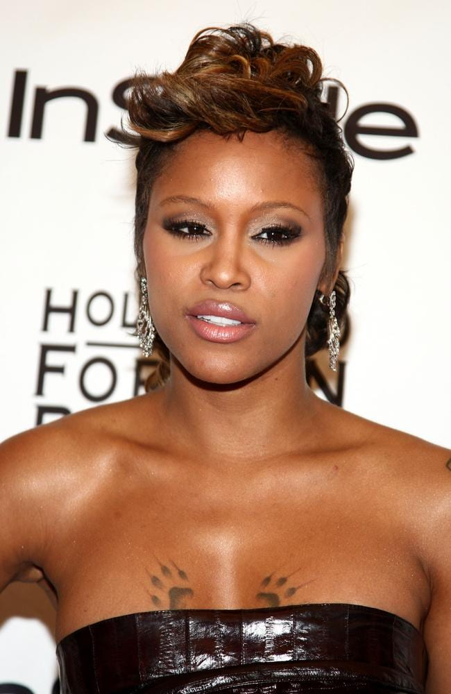 Singer Eve is known for her trademark paw print tattoos. Picture: Alberto E. Rodriguez.