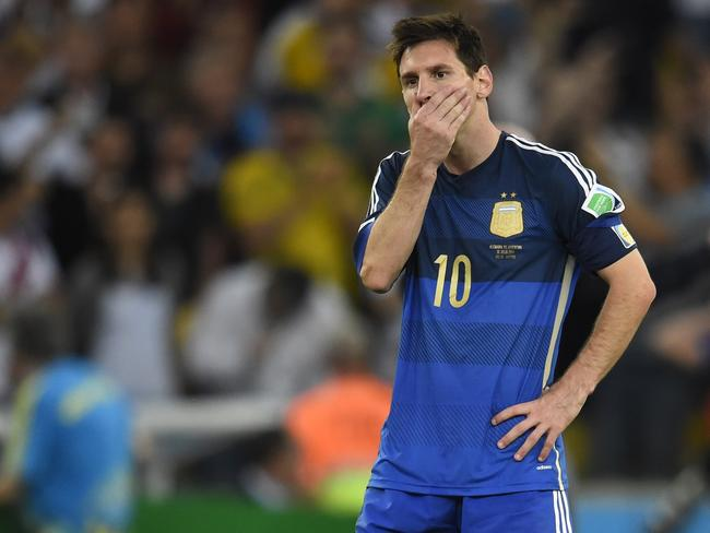 Argentina's forward and captain Lionel Messi reacts after losing the 2014 FIFA World Cup final against Germany.