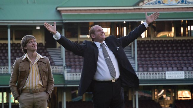 John Cornell (Abe Forsythe) and Kerry Packer (Lachy Hulme) at the SCG in a scene from Howzat! Picture: Channel 9