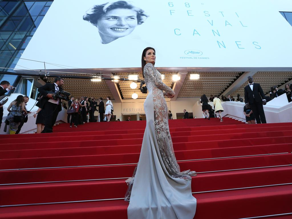 """Eva Longoria poses as she arrives for the screening of the film """"Inside Out"""" at the 2015 Cannes Film Festival. Picture: AFP"""